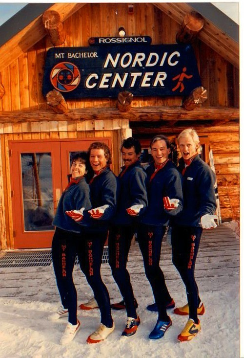 Bob Mathews and friends outside the Nordic Center at Mt. Bachelor in the 1980s.