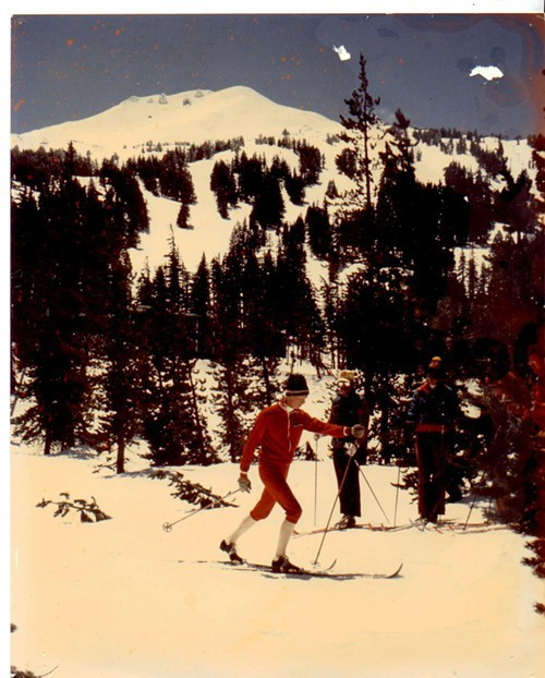 Bob Mathews teaches a nordic lesson to Scott McLagan, Joanne Coburn, Ken Klecker and Bill Coburn in the spring of 1975. This area at Mt. Bachelor is now a parking lot.