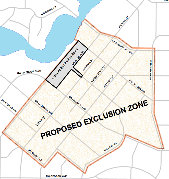 If City Council gives a second vote of approval June 3, the civil exclusion zone will expand to encompass most of downtown Bend.