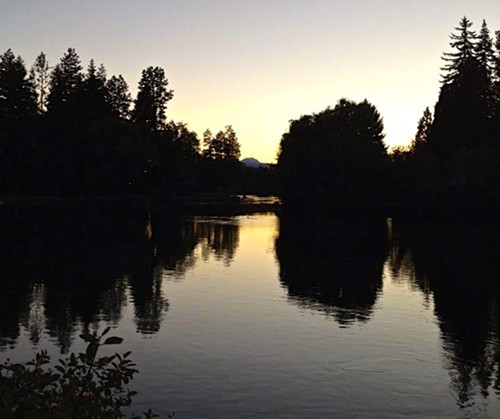 Mirror Pond--before the leak--at sunset.