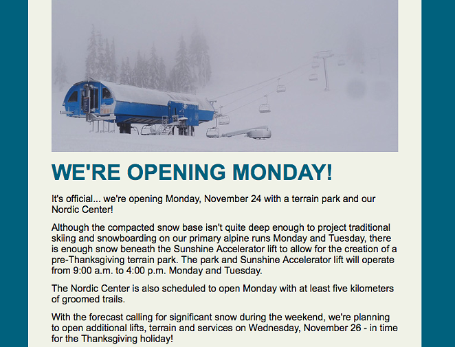 VIA AN EMAIL FROM MT. BACHELOR