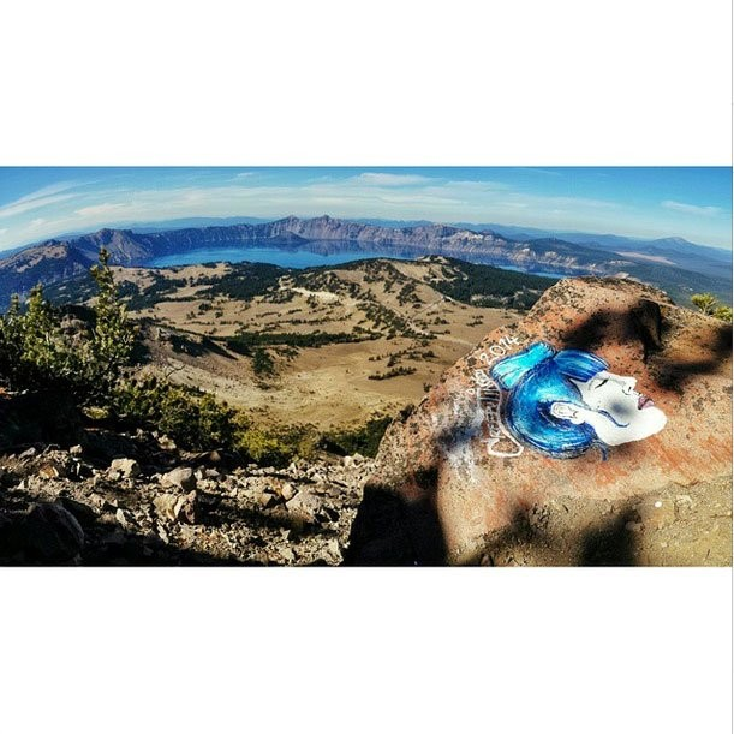 Graffiti overlooking Crater Lake. - MODERN HIKER