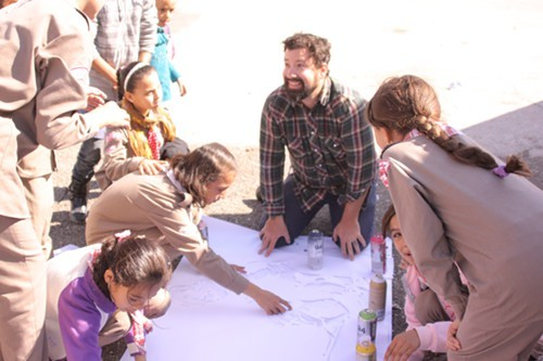 Rise Ups director, Jesse Roberts, works with Palestinian youth in November, amidst the fighting between Hamas and Israel.