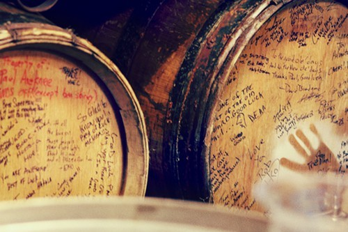 These oak barrels were parting gifts from his coworkers at Deschutes.
