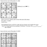 Pearl's Puzzle - Week of Dec. 21