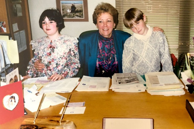 The author's children, Molly Dugan, left, and Daniel Dugan, right, in 1991, on the day they served as legislative pages for now-Secretary of State Bev Clarno, center. - JUDY STIEGLER