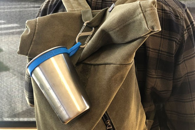 With the help of hardware that's easy to clip onto bags and purses, like this cup and clip from Kleen Kanteen, bringing your own cup can get a lot easier. - NICOLE VULCAN