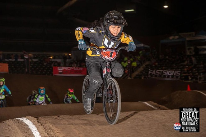 "Sophia ""So Fast"" Rodriguez rips it in a BMX race. - COURTESY HIGH DESERT BMX"