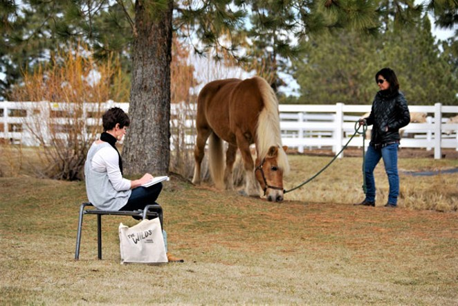 Kelly Thiel sketches at Healing Reins. - SUBMITTED