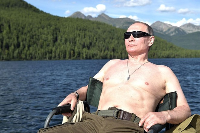 Yes, that is Vladimir Putin without a shirt on. No, it is not against the law in our state. And no, he is not visiting Central Oregon anytime soon. That we know of. - WWW.KREMLIN.RU