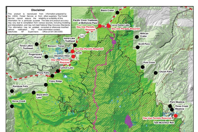 Access maps of future trail permit requirements at the Deschutes National Forest website. (See link below) - U.S. FOREST SERVICE
