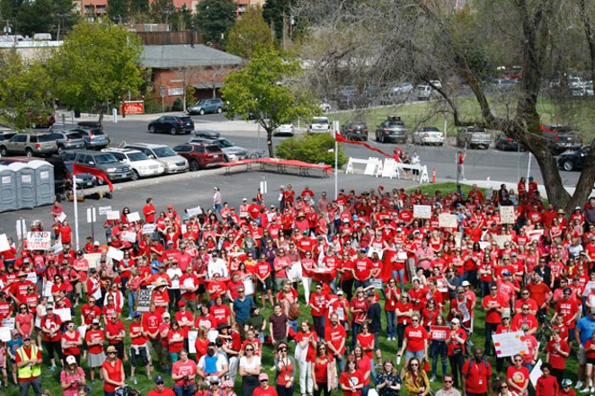 Roughly 2,000 educators, students and supports gathered May 8 to listen to speakers and march. - BRON WICKUM