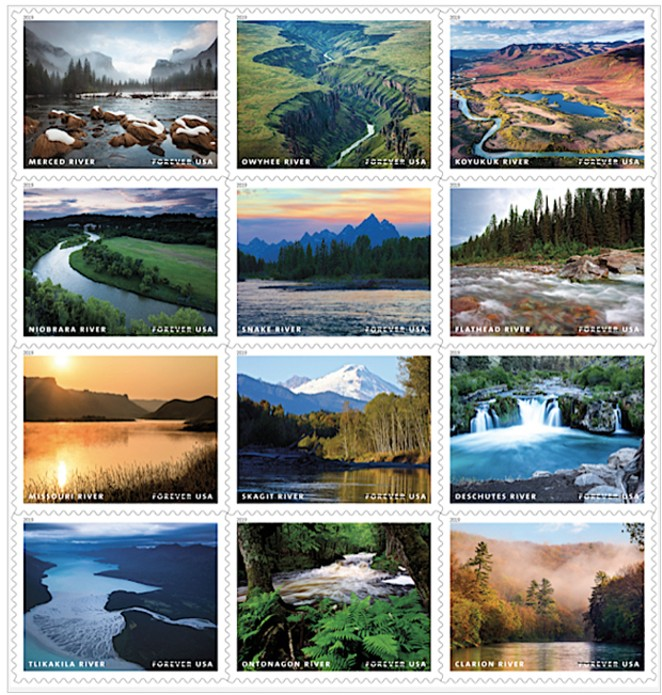 The 12 forever stamps released in honor of the 50th Anniversary of the Wild & Scenic Rivers Act. - USPS