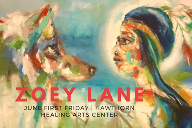 Zoey Lane body painting at Hawthorn Healing Arts Center. - SUBMITTED