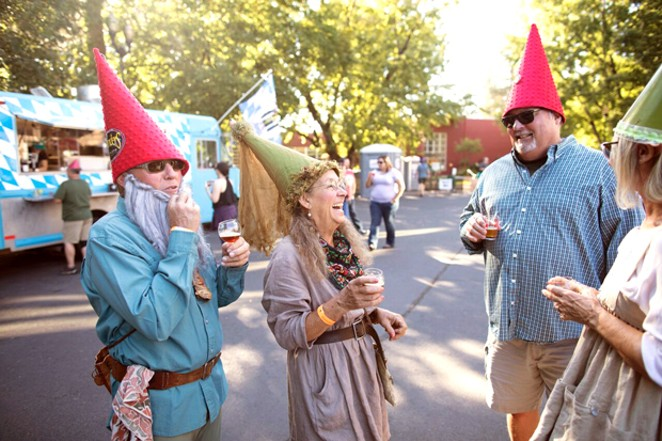 Revelers enjoy beer and whiskey tastes at the Little Woody Barrel Aged Beer, Cider & Whiskey Festival. - BRIAN BECKER