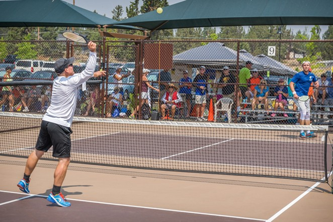 An action shot from the 2018 Oregon Senior Games Gamma Tournament. - RICHARD ANDERSON / BEND PICKLEBALL CLUB