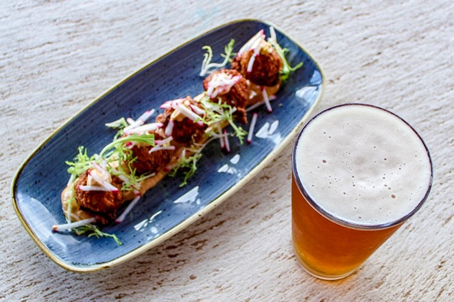 Sunset Pale Ale pairs exceptionally well with Brasada's shrimp fritters, in this writer's humble opinion. - NANCY PATTERSON