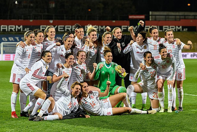 FIFA Women's World Cup 2019 Qualification Austria vs. Spain 2018/04/10. Picture shows team of Spain after the match. - WIKIMEDIA COMMONS