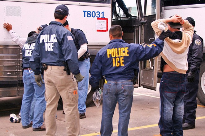 "ICE agents with some of the suspects arrested in operation ""Night Moves."" - PHOTO COURTESY OF ICE"