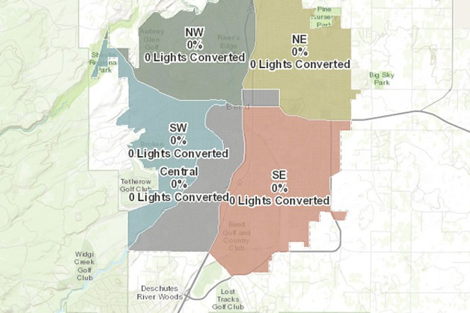 An interactive map at the City of Bend's website tracks the city's work converting its streetlights to LEDs. - CITY OF BEND