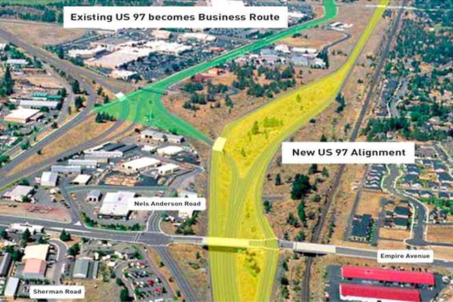 An image from the U.S. Department of Transportation shows the existing US 97, highlighted on the left, that will become a city street; and the planned US 97, highlighted on the right, just east of the existing one. - US DEPARTMENT OF TRANSPORTATION