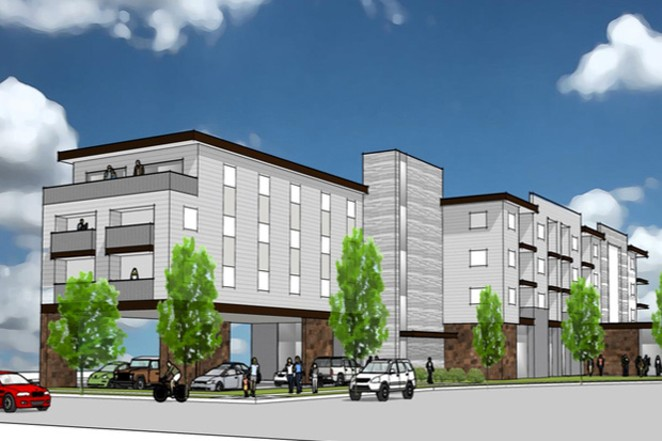 A draft rendering shows Housing Works' planned building, Carnelian Place, at Northeast Conners Avenue in Bend. It will include medical services from Mosaic Medical on the ground floor. - HOUSING WORKS