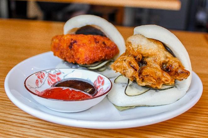 Chicken katsu and tempura mushroom steamed buns are alternatives to ramen at Miyagi. - NANCY PATTERSON