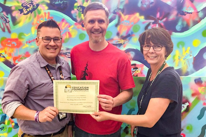 Pine Ridge Elementary School accepts a $1,000 grant for the Elk Meadow and Pine Ridge Mural Wall. - COURTESY EDUCATION FOUNDATION