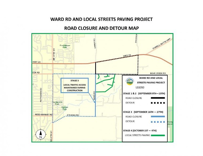 A Deschutes County map shows the location of construction planned for Ward Road and nearby streets. - DESCHUTES COUNTY