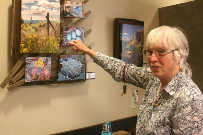 Linda Ziegenhagen of Redmond tells the story of her unique photo/art of mountain bluebirds on display in the Community Room of the Sisters Library. - JIM ANDERSON