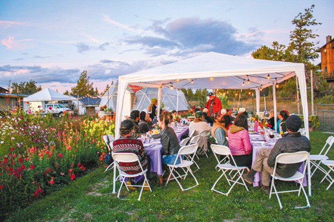 Tris Reisfar of Blazing Trails shares cannabis knowledge during the Hemp Harvest Blessing Dinner at Dome Grown Produce Sept. 20. - NICOLE VULCAN