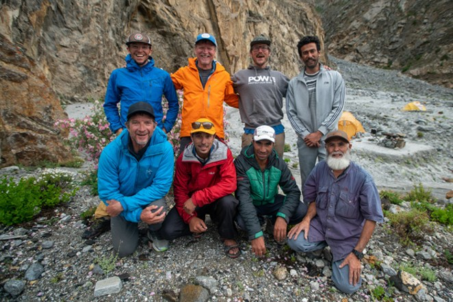 The entire team, in Basecamp having safely made the first ascent of Link Sar. - GRAHAM ZIMMERMAN