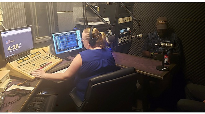 Katy Ipock, former KURT 93.7 host, interviews guest Johnny Alfredo for a recent KPOV broadcast. - CAYLA CLARK