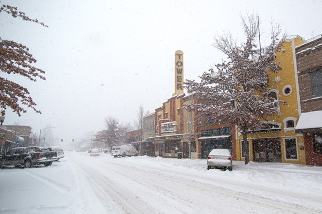 If it's snowing, a stroll through beautiful downtown Bend might be in order. - NATE WYETH/VISIT BEND