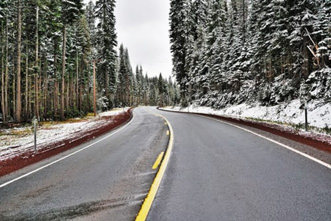 Studded tires can do damage to dry roads, but may not be responsible for potholes. - PETER GONZALES