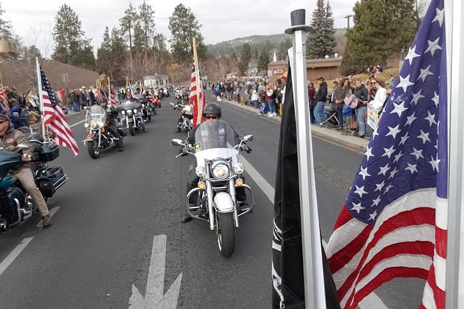 A cadre of veterans on two wheels rolled through Newport Ave. Monday as part of the Veterans Day Parade. - BONNIE VANDIVER.