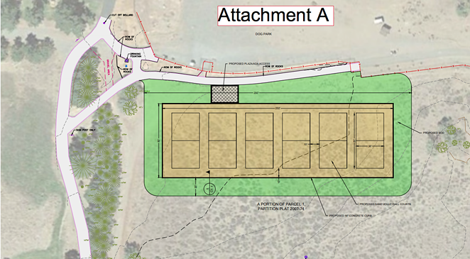 The six proposed volleyball courts at Pine Nursery Park are planned just south of the dog park, on the east side of the park. - BEND PARK AND RECREATION DISTRICT