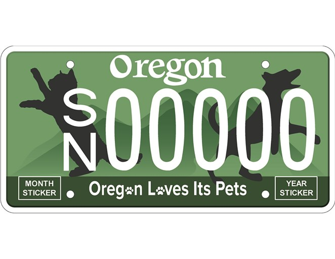 New Oregon license plate provides low-cost spay/neuter services. - LEE ORDONEZ