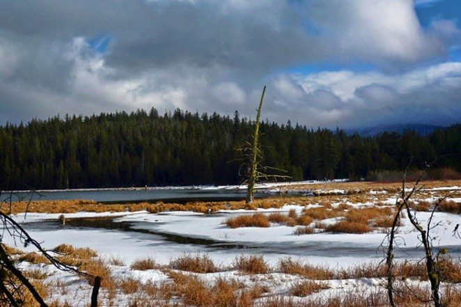 Wild and windy—just a taste of things to come. Paulina Lake, Dec. 5. - PHOTO BY CHARLES BLUMENTHAL
