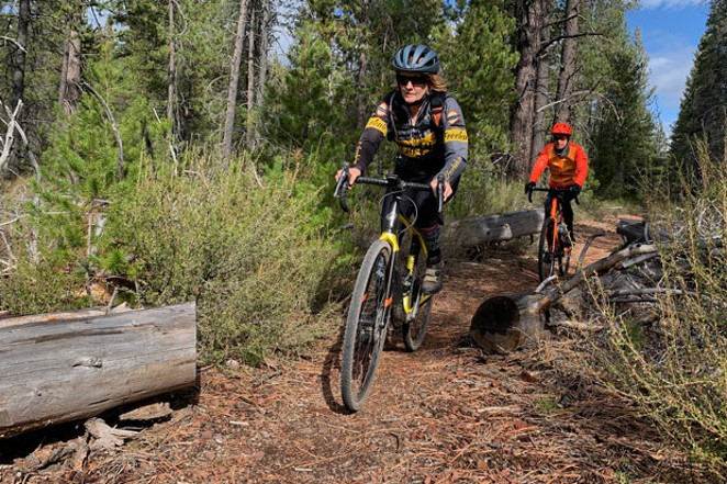 Linda English and Bryn Gabriel enjoying the Water and Lava route, one of the many Dirty Freehub gravel bike routes in Central Oregon.  Find the route description at Dirty Freehub. - COURTESY DIRTY FREE HUB