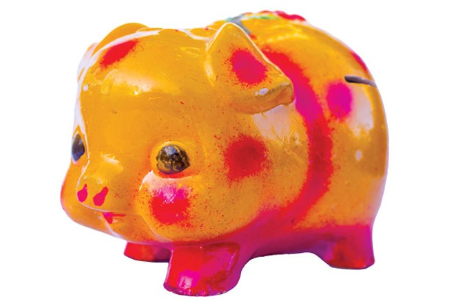 """Seriously, I hide money from myself. I picked up this piggy bank, with only a thin """"in"""" hole and no """"out"""" hole, to stash emergency cash. The harder it is for you to save, the harder you should make it to dip into the savings. - DARRIS HURST"""