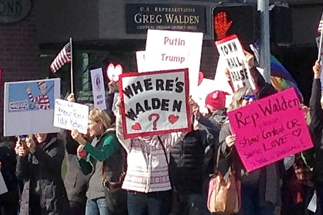 Scenes like this, outside Rep. Greg Walden's Bend office, have not been uncommon in recent years, with many constituents in the longtime Congressman's district frustrated with his infrequent public appearances in Central Oregon. - BONNIE WALKER, DEMOCRACY HAPPENS