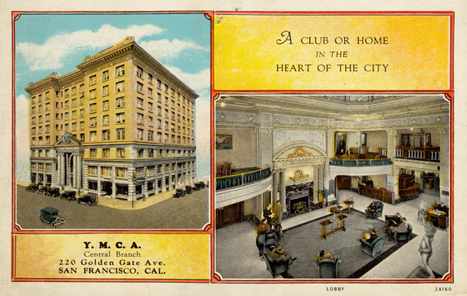 People throughout the economic spectrum lived in hotels full time in 19th Century America. This Y.M.C.A. was located in the heart of San Fransisco. - DIGITAL COMMONWEALTH
