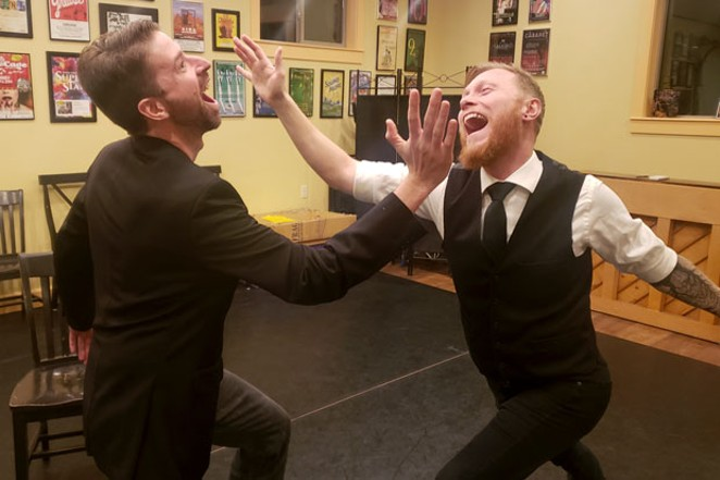 """Tom Thurman and Rob Henkel rehearse """"Avo Toast,"""" one of five short plays. - CAYLA CLARK"""