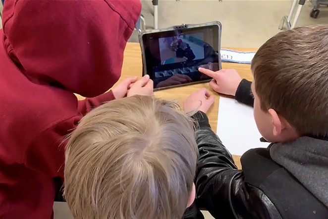 Fourth graders at Bear Creek Elementary in Bend created short films with Future Filmworks, working in teams to write, film, and edit their original works—finishing with a screening for their classmates, complete with movie theater popcorn! - COURTESY YOUNG AUDIENCES OF OREGON & SW WASHINGTON.