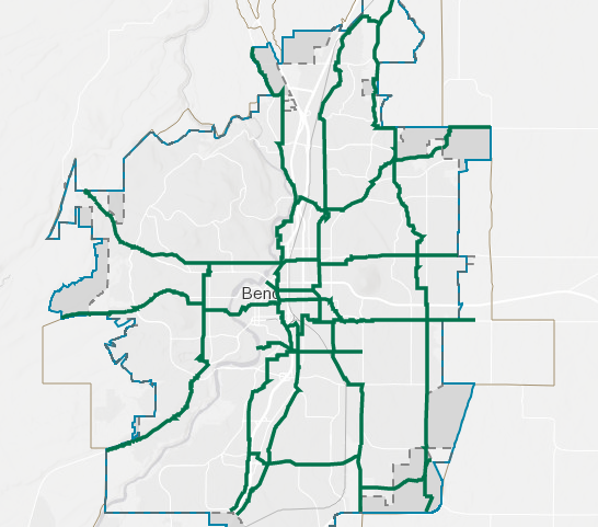 A map of the 12 key bike and pedestrian routes that are part of the $190 million general obligation bond. - CITY OF BEND