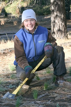 Amanda Egertson works on the Deschutes Land Trust's Metolius Preserve. - SUBMITTED
