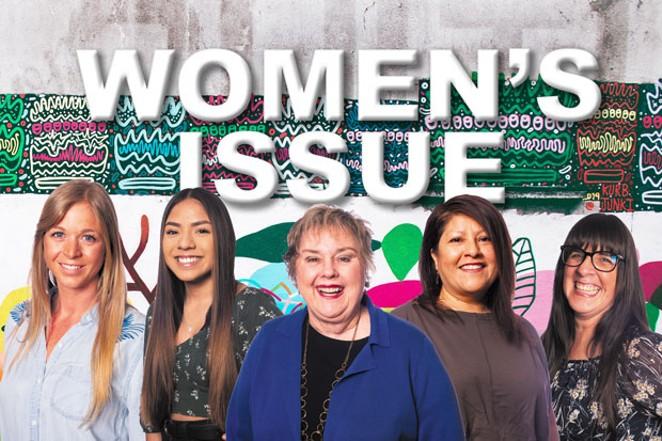 From left, Woman of the Year Jesse Durham, Young Hero Angie Acevedo, Lifetime Achievement winner Lawnae Hunter, Community Hero Ruth Jones and Advancing Women winner Karina Smith. - PHOTOS BY MEGAN BAKER