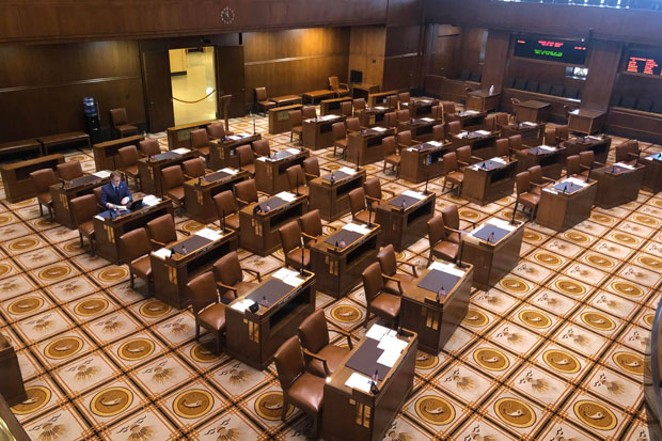 Sen. Tim Knopp (R-Bend) alone on the Senate floor on Fri., March 6. - BEN SCHIMMOLLER