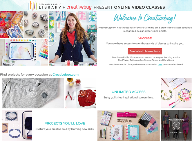 Creativebug has hundreds of high-quality arts and crafts classes from painting to sewing to paper crafts. - CREATIVEBUG / DESCHUTES PUBLIC LIBRARY - SCREENSHOT